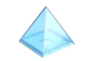 A pyramid has four triangular sides and a square base.