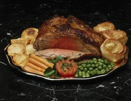 Yorkshire pudding, a pop-over pastry is commonly served with an English beef roast.