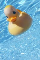This rubber ducky floats because the buoyant force exerted by the water exceeds its weight.