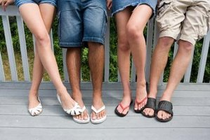 People wear flip flops and sandals during the warmer months.