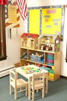 Organize a Montessori classrom with wooden shelves and materials.