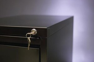 A locking file cabinet keeps personal documents safe from prying eyes.