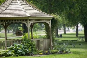 The vaulted roof and stand alone structure identify this as a gazebo design veranda.