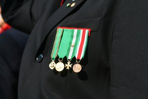 Advancement in the chain of command is shown by a soldier's insignia.