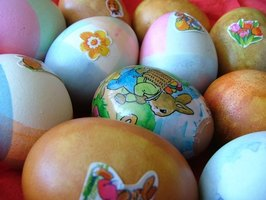 Water-transfer decals decorate Easter eggs.