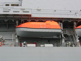 Davits are the mechanical arms used to lower a lifeboat from a ship.
