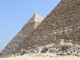 The Great Pyramid of Giza, Egypt, was constructed entirely of limetone.