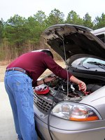 Always use caution with car batteries.
