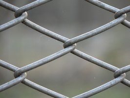 An example of the wires on a chain-link fence, which form a diamond pattern.