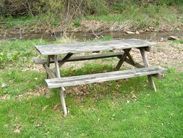 Wooden picnic tables are easy to maintain.