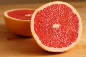 A halved Ruby Red Grapefruit.