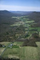 Mountains and valleys extend across parts of Pennsylvania.