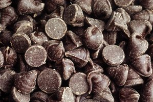 Close-up of milk chocolate chips.