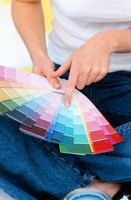 Paint sample cards show options for monochromatic color schemes.