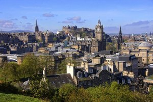Edinburgh can be reached in four and a half hours from London by express train.
