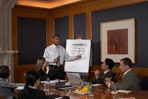A man is giving a business presentation.