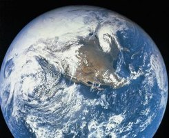 A view of the earth from a satellite in outerspace.