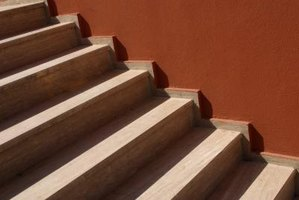 Exterior risers and treads are lower and wider than interior stairs.