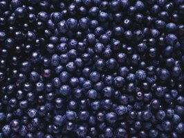 Blueberries grouped together.