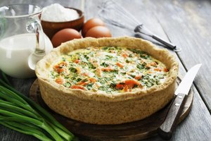 A quiche rich in vitamin B-12 ingredients including salmon, eggs, milk and cheese.