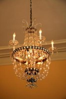 The look of an expensive crystal chandelier can be inexpensively recreated.