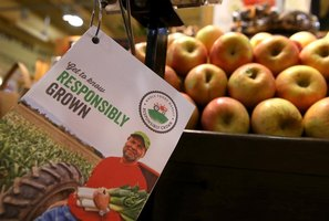 A pamphlet promoting quality produce near an apple bin in a market.