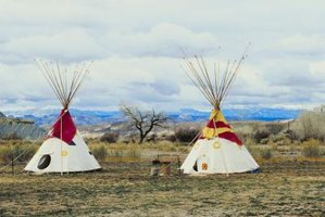 Teepees were originally made of wooden poles and animal hides.
