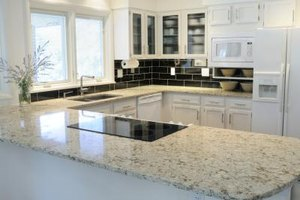A granite countertop in a kitchen.