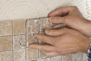 Grout goes between tile spaces.
