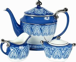 Everyday items such as cups and teapots are common Italian ceramic pieces.