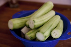 A colander of peeled cucumbers on a table.