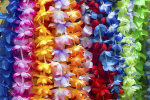Ribbon leis are elegant alternatives to acetate flower leis.
