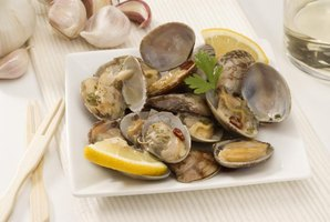 Plate of cooked clams.