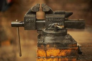Typical metal vise with anvil