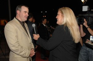 "Alex Kendrick during an interview at the premiere of his film, ""Fireproof""."