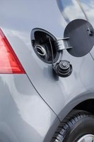 A typical car gas cap protected by a bodywork flap