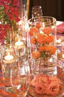 Floating crystal candleholders add a modern twist to table settings.