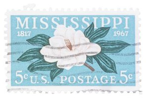 The southern magnolia is the state flower of Mississippi, here seen on a stamp.