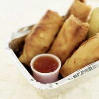 Egg rolls can be served with sweet and sour dipping sauce.