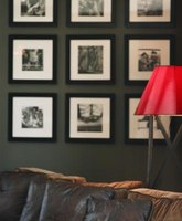 Black and white framed photographs are a favorite in living rooms.