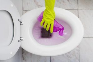 Wear protective gloves when using toilet bowl cleaner.