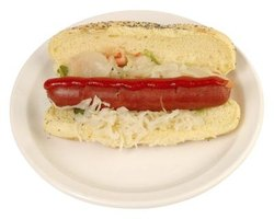 A hot dog with sauerkraut