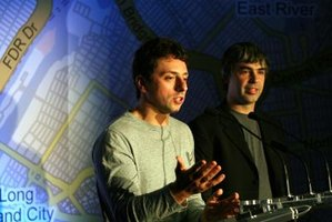Google founders Larry Page and Sergey Brin announce a new feature for Google Maps.