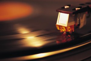 The needle on a record player.
