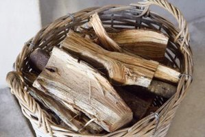 Basket of chopped juniper fire wood