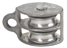 A pulley with two grooved wheels facilitates increased lifting power and pulling power.
