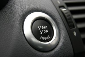 Starter button for a car's engine.
