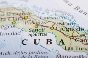 Close-up of Cuba on map