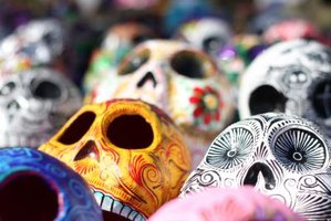 Close up of day of the dead skulls