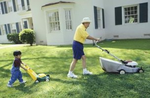 Mowing your lawn when grass is dry prevents clippings from adhering to it.